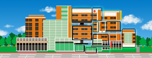 A cluster of hospital buildings shown on one side in physical space and on the other side as images on a group of electronic screens.