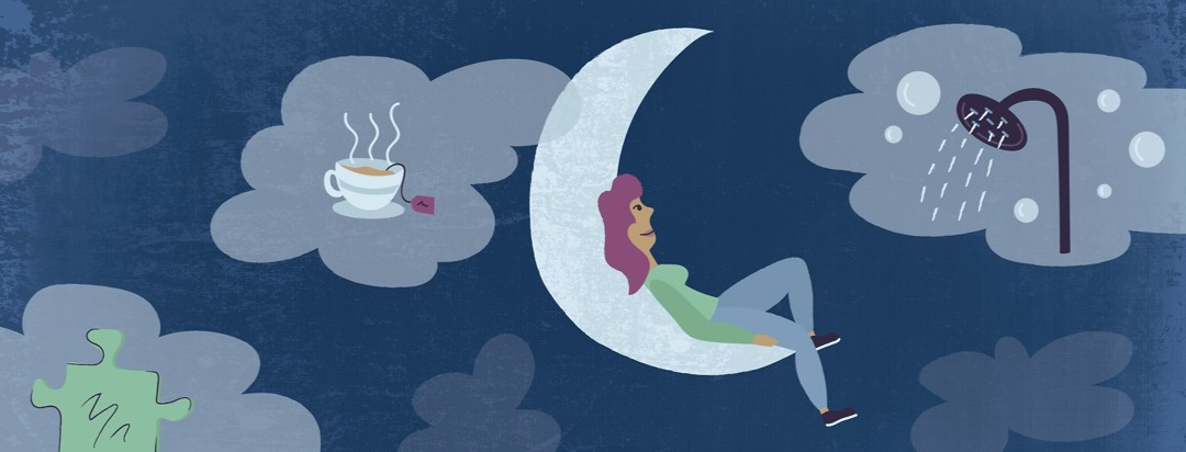 a woman with restless legs syndrome relaxing on the moon surrounded by clouds showing a hot shower, a puzzle, and some tea
