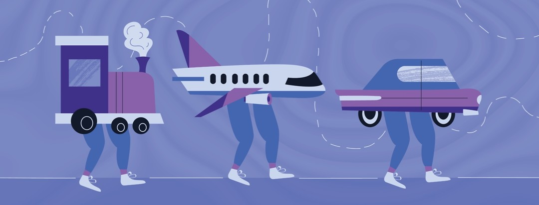 a train, a plane, and a car with restless legs attached to the bottom of each of them