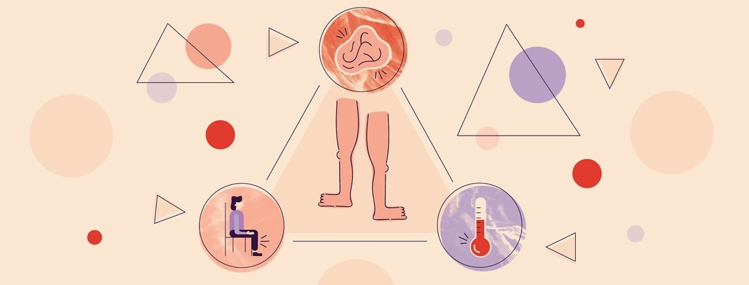 A triangle with restless legs in the middle and each point of the triangle pointing to an image of a hot thermometer, a person sitting, and a stressed brain