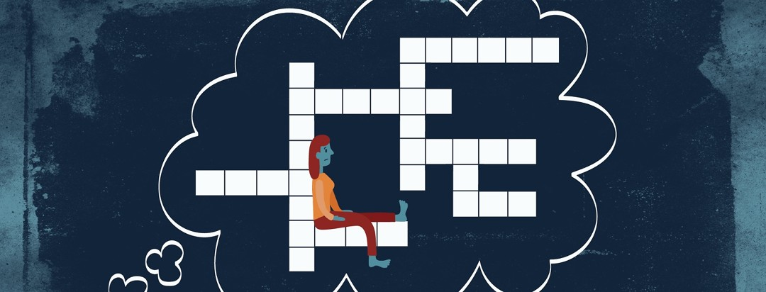a woman with restless legs syndrome sitting with her legs up on a crossword puzzle which is in a thought bubble