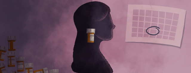 a woman emerging from the dark with pill bottles behind her and a calendar in front of her