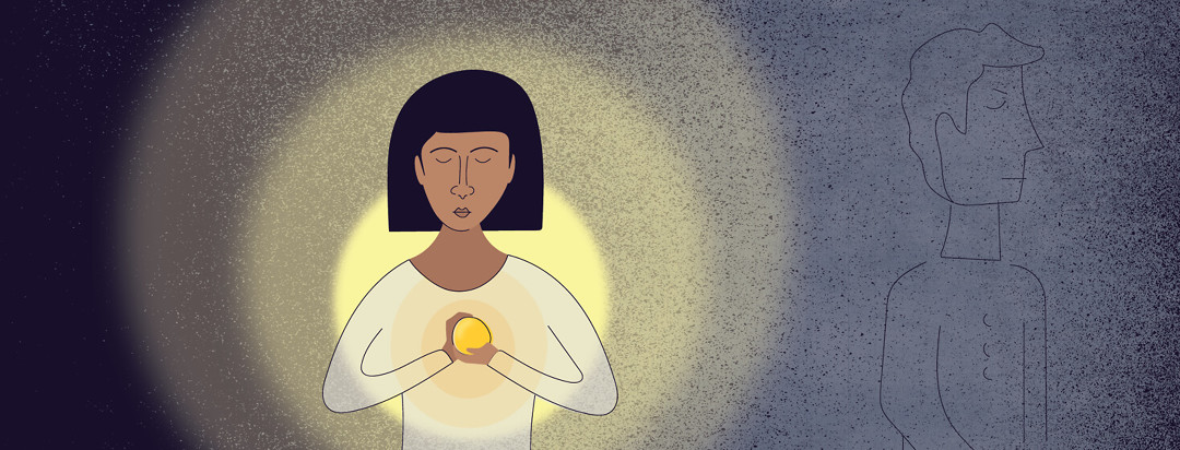 a woman holding the light inside her in her hands while the figure of a man fades into the dark background