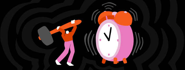 A person hoists a hammer up to smash a large ringing alarm clock