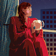 A woman in pajamas sits in a big window holding a cup of tea, looking out at the sunrise beginning to shine on the high-rise buildings in the city below. routine, morning, sunrise, city, cityscape, pjs, serene, calm, tranquil, apartment, quiet adult female