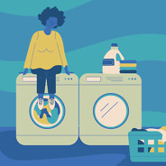 a woman sitting on top of her washing machine as its running female, adult, POC