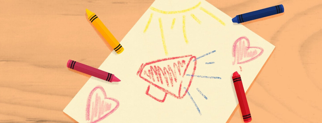 a drawing of a megaphone and hearts in crayons