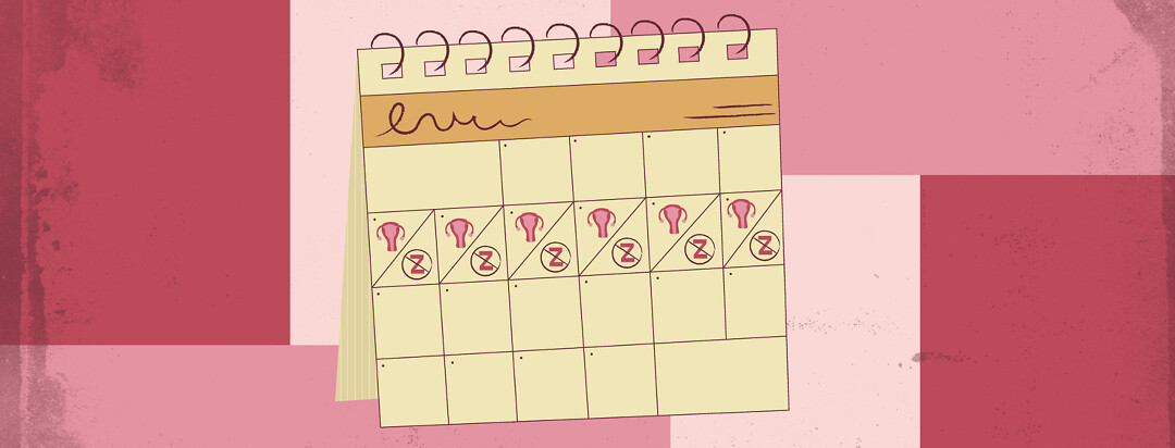 a calendar showing someone's menstrual cycle lining up with days of not sleeping